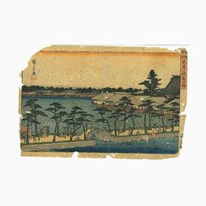 Utagawa Hiroshige-Shinobazu, no ike benten no hokora, Xilografía, 1837/1844