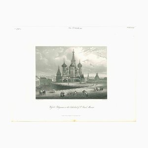 Ancient View of St. Basil's Cathedral in Moscow, Original Lithograph, 1850s