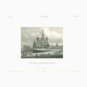Vista antigua de la catedral de San Basilio en Moscú, Litografía original, década de 1850