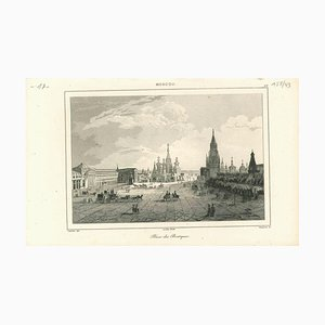 Ancient View of Place Des Boutiques in Moscow, Original Lithograph, 1850s