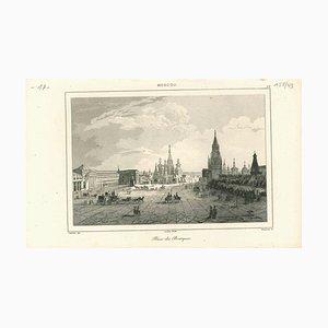 Vista antigua de Place Des Boutiques en Moscú, Litografía original, década de 1850