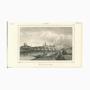 View of Stone Bridge, Moscow, Original Lithograph, 1850s
