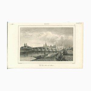 Vista del puente de piedra, Moscú, litografía original, década de 1850