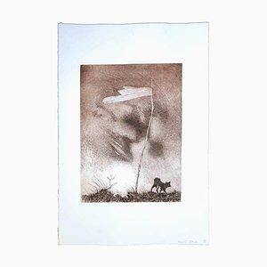 Leo Guida, bandera solitaria, aguafuerte original, 1970
