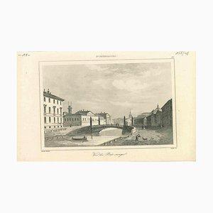Vista antigua de Pont Rouge en San Petersburgo, Litografía original, década de 1850