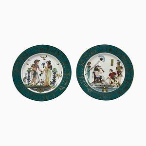 Platos vintage con motivos egipcios de Fine Royal Porcelain Sculpture. Juego de 2