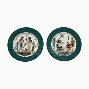 Vintage Plates with Egyptian Motifs from Fine Royal Porcelain Sculpture, Set of 2