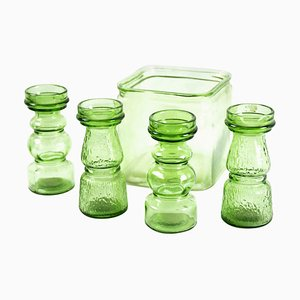 Vintage Green Glasses, Italy, 1970s, Set of 5