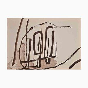 Composición abstracta, acuarela original, mediados del siglo XX