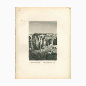 Temple of Osiris Ruins at Abydos, Original Lithograph, Early 19th Century
