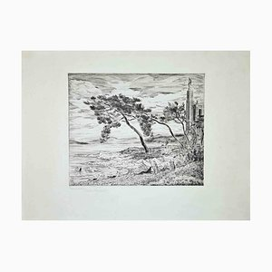 The Windy Shore, Original Etching, 1955