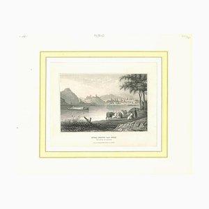 Puda-Pesth and Ofen, Litografia originale, inizio XIX secolo