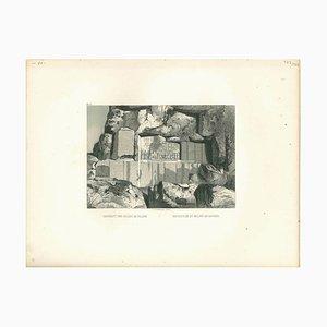 Inschrift und Relief au Rocher, Original Lithographie, Mitte 19. Jh