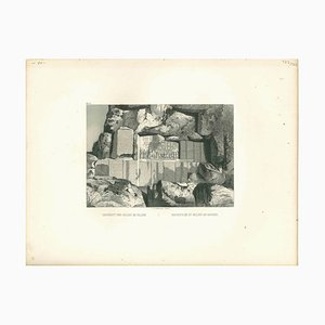 Inscription et Relief au Rocher, Litografía original, mediados del siglo XIX