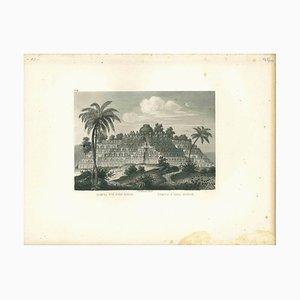 Tempel im Borobudor, Original Lithographie, 19. Jh