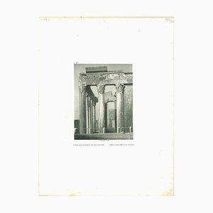 Litografia originale di Temple d'Antonine et de Faustine, metà del XIX secolo