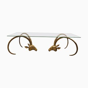 Vintage Brass Ibex or Antilope Coffee Table, 1970s