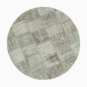 Grey Round Patchwork Rug