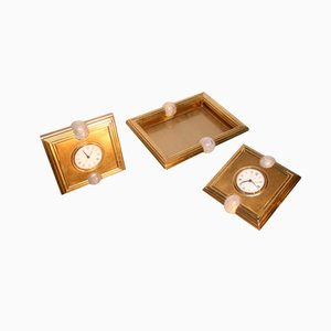 Tischuhren und Münzenablage von Tommaso Barbi, 1970, 3er Set