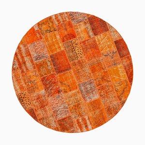 Orange Round Patchwork Rug