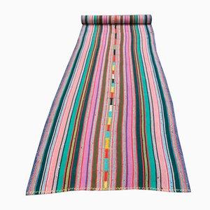 Colorful Striped Vintage Turkish Handmade Wool Rug