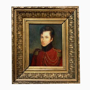 French School Oil on Wood Canvas Depicting a Notable Historical Figure, 1880s