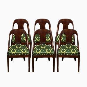 Gondola Empire Stühle aus Mahagoni, 1900er, 6er Set