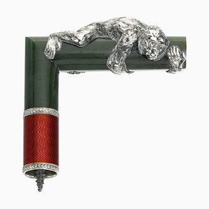 Cane Handle in Silver, Guilloche Enamel and Jade by Julius Rappaport.