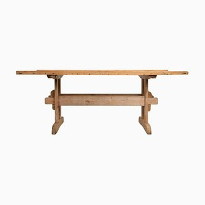 19th Century Swedish Pine Country Dining Trestle Table