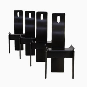 Black Lacquered Highback Dining Chairs, 1980s, Set of 4