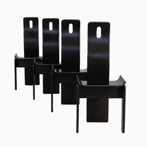 Sillas de comedor lacadas en negro, años 80. Juego de 4