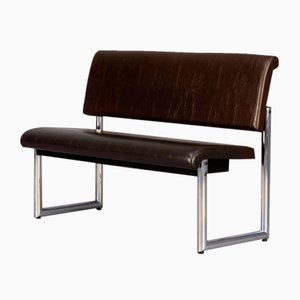 Metal & Leatherette Dining Room Bench, 1990s