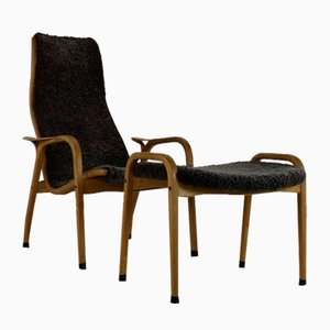 Lamino Chair with Footstool by Yngve Ekström for Swedese, Set of 2