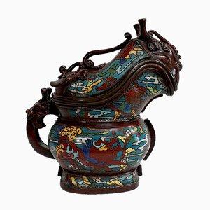 Enameled Bronze Cloisonne Libation Pot, Southeast Asia, Late 19th Century