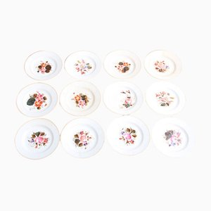 Antique Cake Plates with Floral Motifs, Set of 12