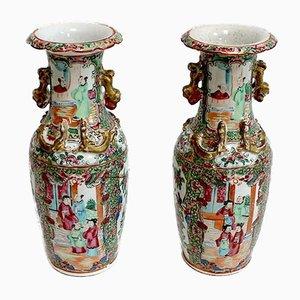 Canton Vasen aus Porzellan, China, spätes 19. Jh., 2er Set