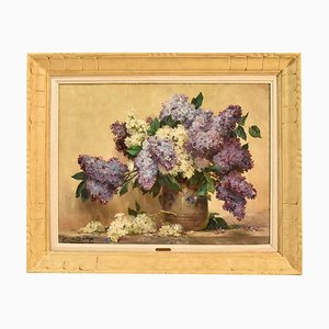 Painting of Lilacs, Oil on Canvas, 20th Century