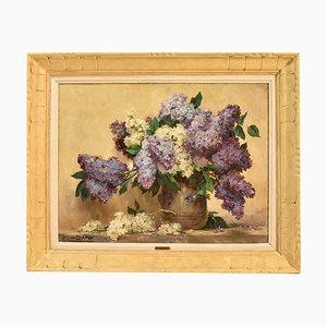 Pintura de lilas, óleo sobre lienzo, siglo XX