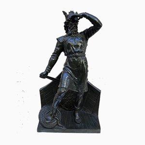 Sculpture en Bronze de Viking at Stern par Carl-Johan Dyfvermans (1844-1892) pour AB För.Konstgjuterierna, Stockholm, Début du 20ème Siècle