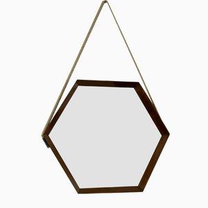 Espejo italiano Mid-Century hexagonal de teca, años 60