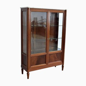 Louis XVI Style Showcase Cabinet in Solid Mahogany, Late 19th Century