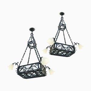 Lámparas de araña Belle Epoque grandes, década de 1900. Juego de 2