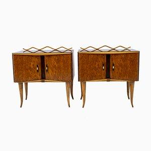 Tables de Chevet Art Déco en Frêne et Noyer, Italie, 1920s, Set de 2