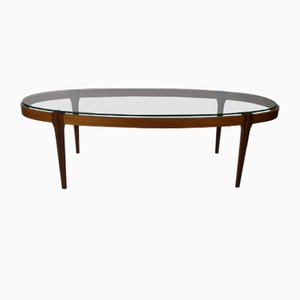 Mid-Century Danish Oval Coffee Table in Glass and Teak, 1960s