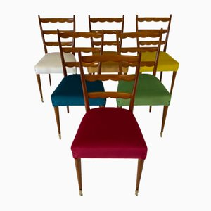 Mid-Century Italian Colored Cherry Wood Chairs, 1950s, Set of 6