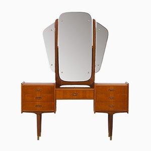 Mid-Century Scandinavian Teak Vanity with Adjustable Mirrors and 7 Drawers, 1950s