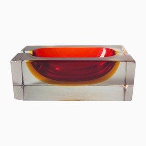 Cenicero Sommerso de cristal de Murano de Flavio Poli para Seguso, años 70