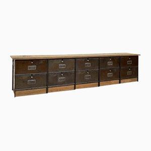 Low Industrial Metal and Wood Sideboard