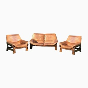 Leather Sofa & Armchairs Set in the Style of Percival Lafer, 1970, Set of 3