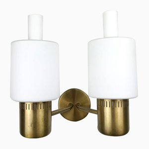 Doppelseitige Nordlys Wandlampe aus Messing von Jo Hammerborg für Fog & Mørup, Denmark, 1960er